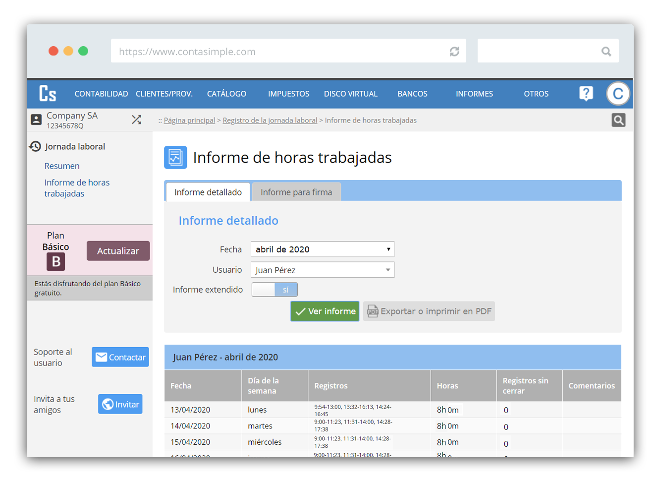 Software para el registro de la jornada laboral
